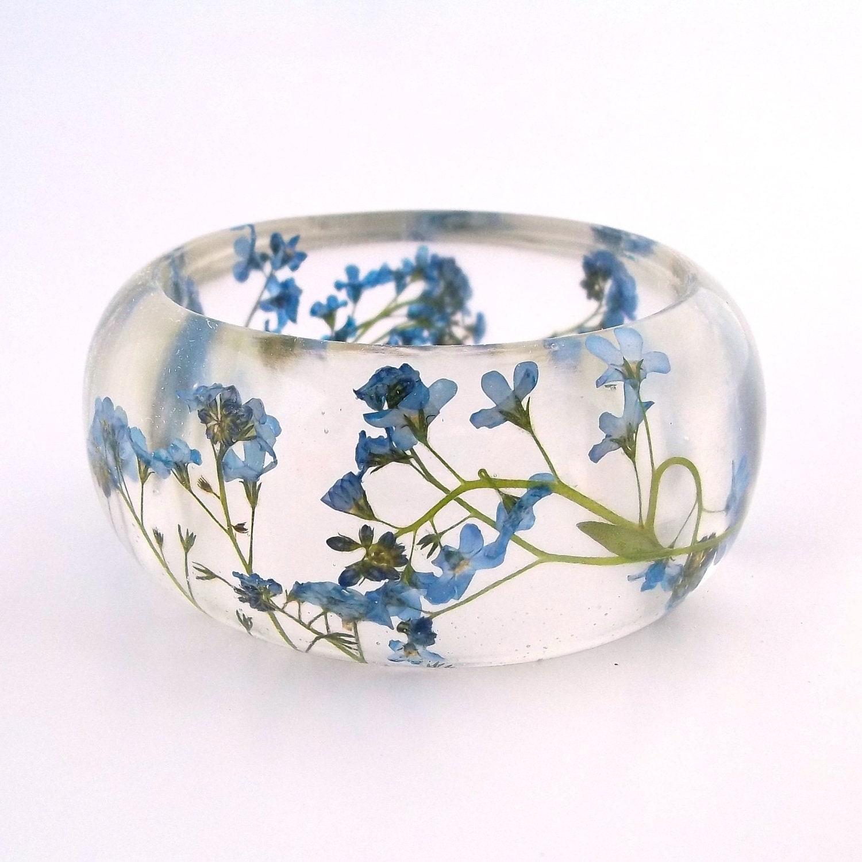 forget me nots resin bangle bracelet by spotteddogasheville