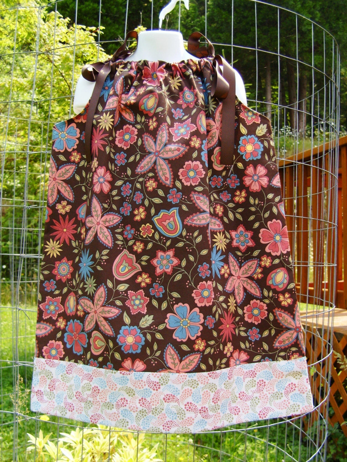 Chocolate Floral Garden with Paisley Border Girls Pillowcase Dress 12 mos 18 mos 2T 3T 4 5 6