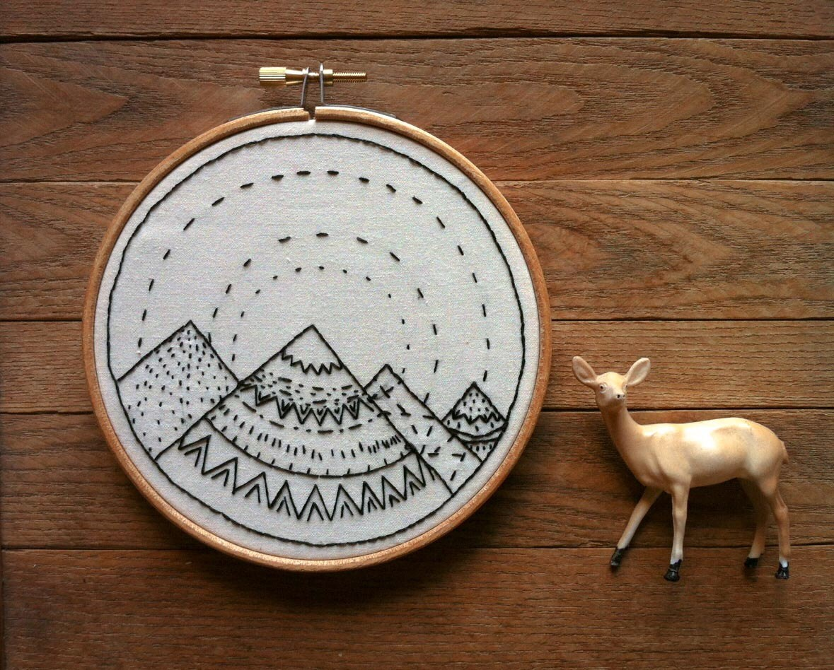 Little Mountain Range 05 Hand Stitched Embroidery Hoop Art - powerfulanimals