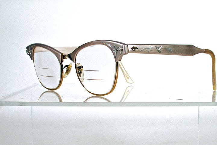 Vintage 1960s ART CRAFT Aluminum Gold Etched  Eyeglass Frames