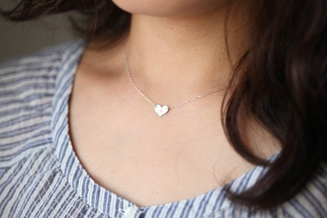 Reserved for jystar13 - small initial heart sterling silver necklaces