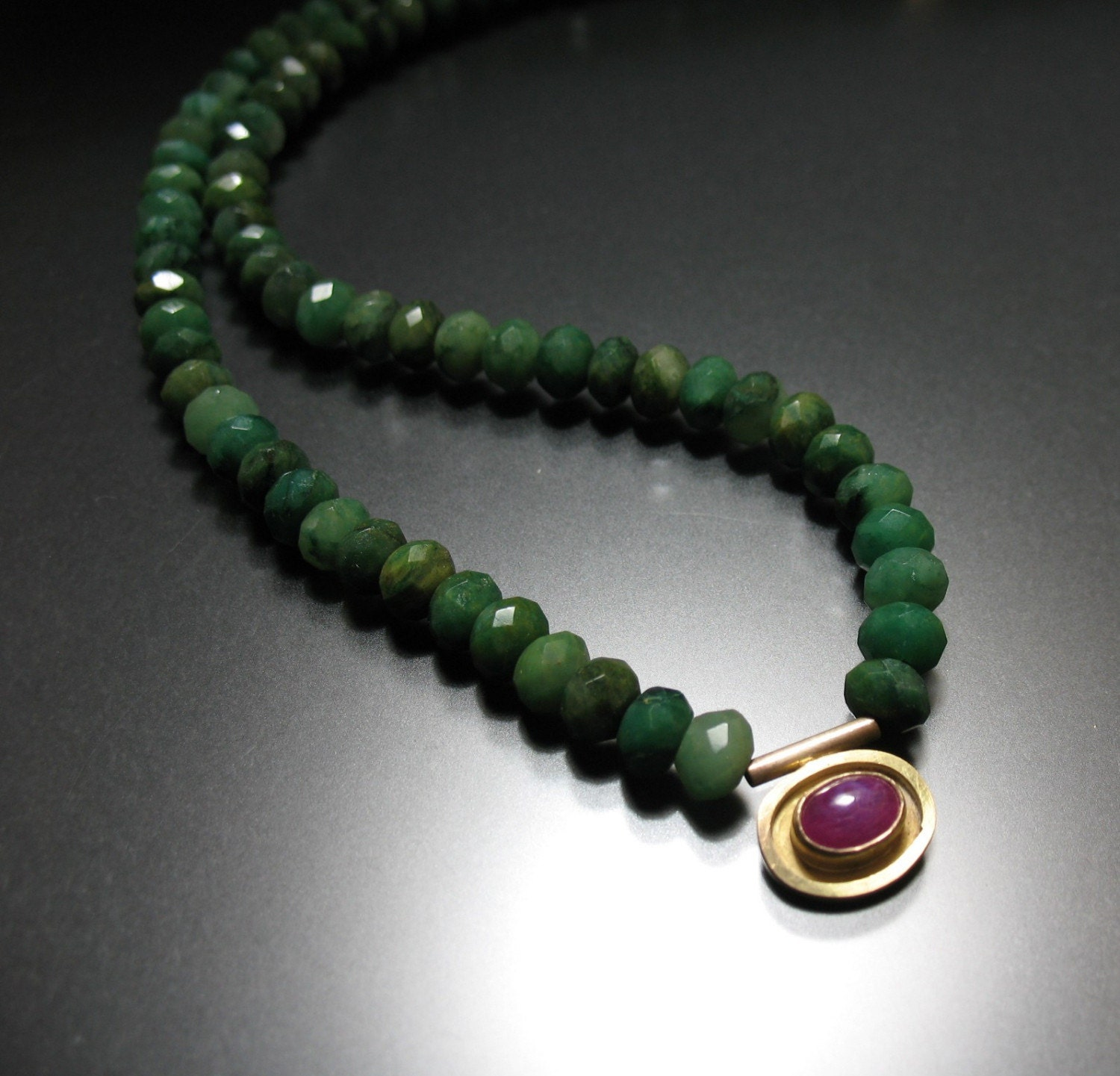 Sparkling Jade and Ruby Necklace