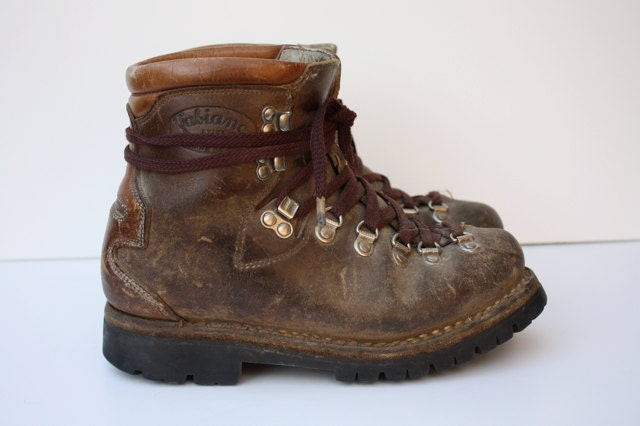 vintage fabiano leather hiking boots by aniandrose on etsy