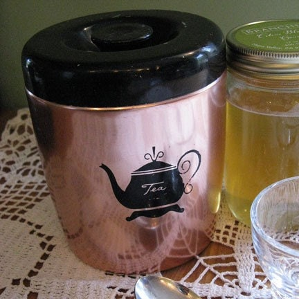 vintage 50s pink aluminum TEA canister