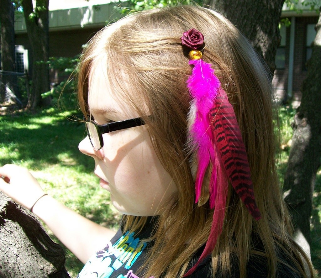 Burgundy Rose Feathered Hair Extension Barrette