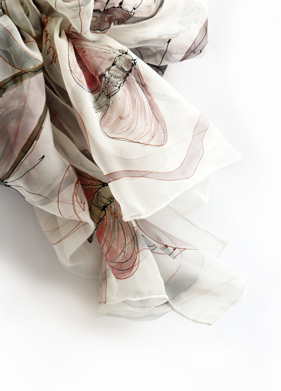 Hand painted scarf Copper grey butterfly's MADE TO ORDER - klaradar
