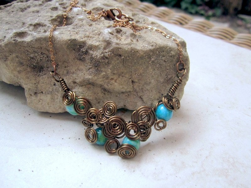 Vintaj Brass Scrollwork Necklace with by DebrasDivineDesigns