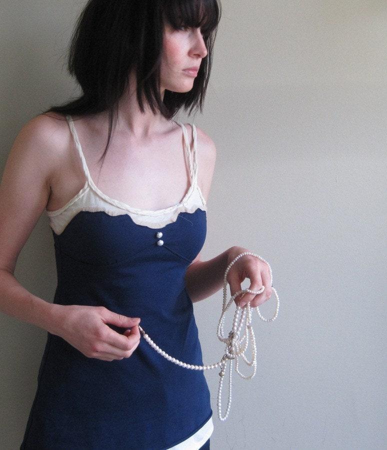 Fair Seafarer - navy blue nautical braided jersey tunic - small