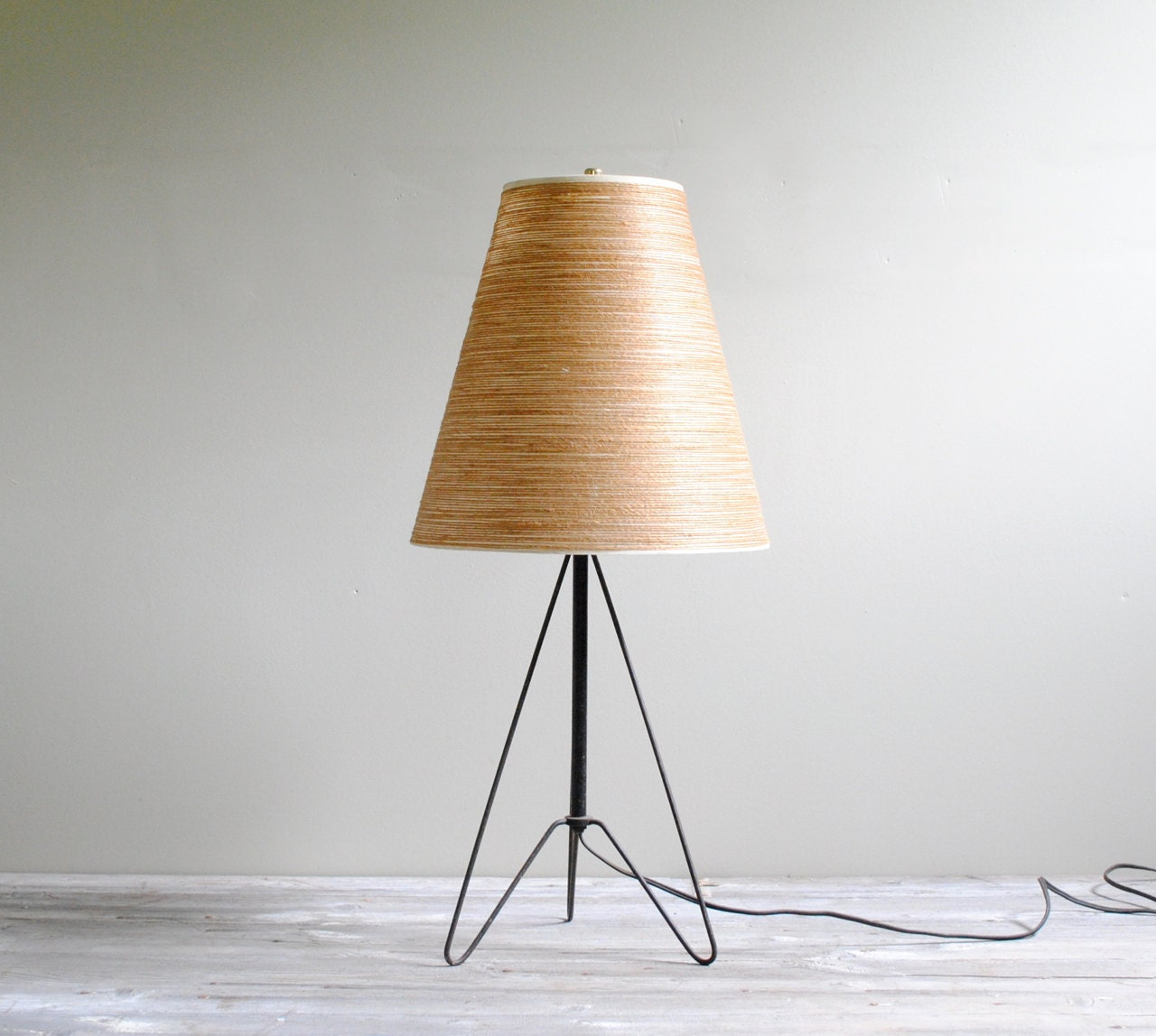 Vintage hairpin leg mid century table lamp by littledogvintage for Vintage hairpin table legs