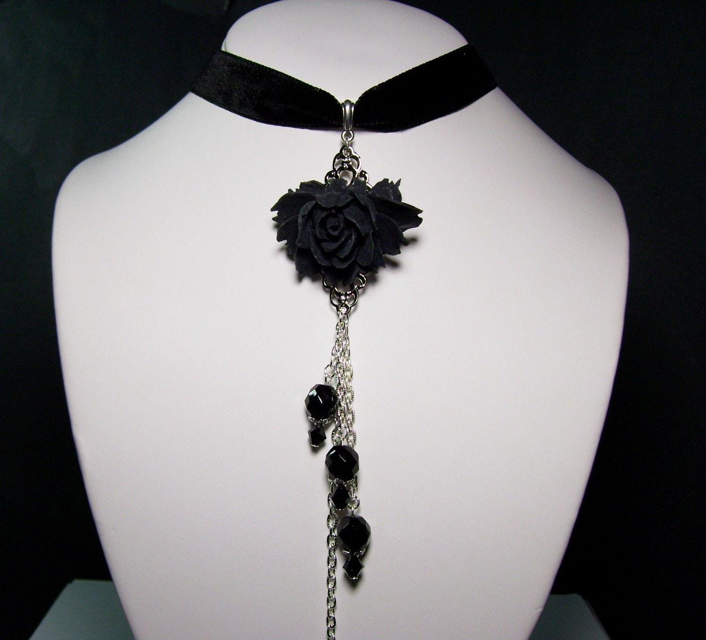 Beauty in the Graveyard -Black Rose Antique Silver Cross Jet Black Swarovski Crystal Beads Czech Glass Black Velvet Gothic Lolita Long Choker Necklace Pendant --LOOK--