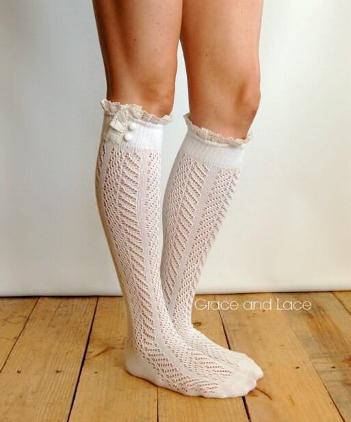 Dainty Lace boot socks - Lacey Sock - Ivory boot socks - open-knit socks - Chevron patterned - lace socks - lacy boot socks (item no: 10-30) - GraceandLaceCo