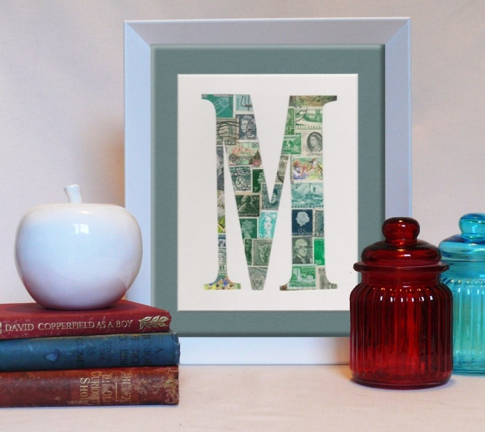 Your baby's initial in Vintage  postage stamps (ALL letters available) personalized art, nursery decor - MaxandMeDesigns