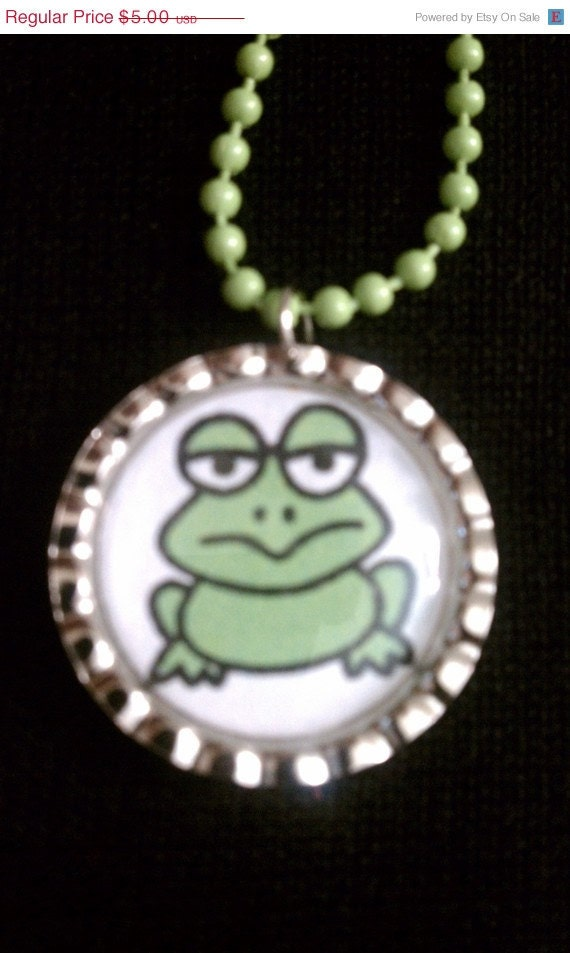 MEGA Sale Grumpy Frog Bottle Cap Necklace (SB 007)
