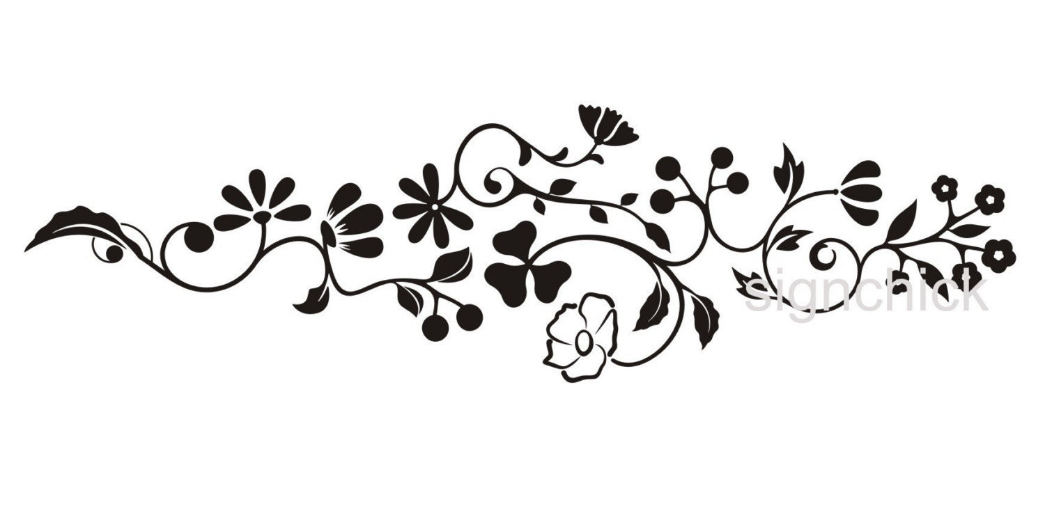 Floral Scroll Wall Decal Pretty Flower Design By