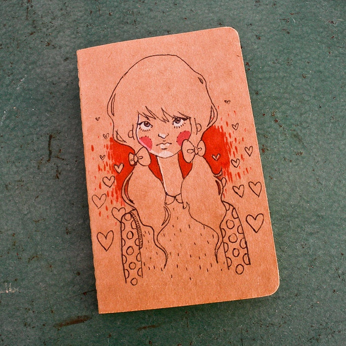 Cutesy Pig Tails in Bows - Hand Drawn Moleskine Sketchbook