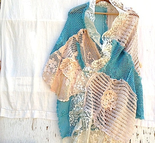 summer rustic custom Turquoise teal American wild West Prairie Girl Texas Bride Shabby Crochet Shawl Shrug Vintage Laces roses - kateblossom