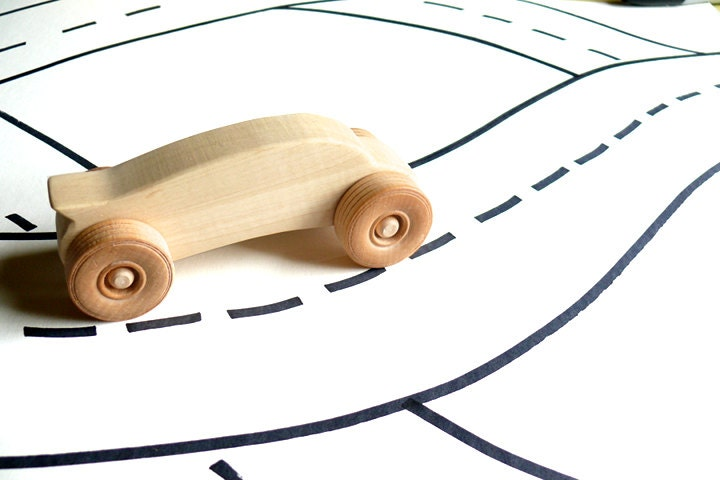 3 organic toy car - natural wooden toy, eco-friendly sustainable wood, waldorf toy for baby or toddler - JouetsMiamMiamToys