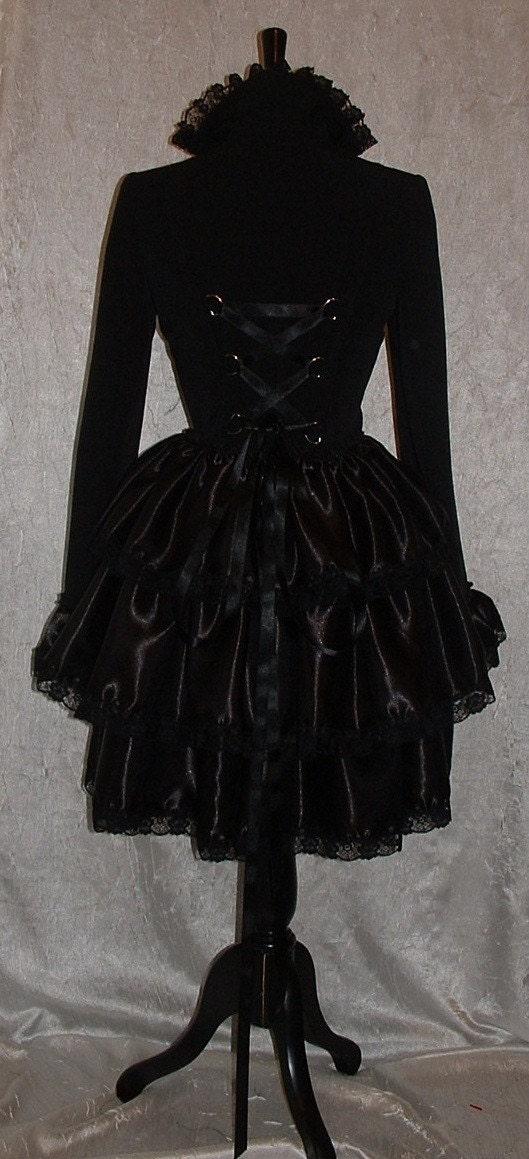 womens coat jacket black goth fantasy fest victorian steam punk rockabilly burlesque bustle coat corset jacket  US size 8 10 12 14 16 - darkestdreams