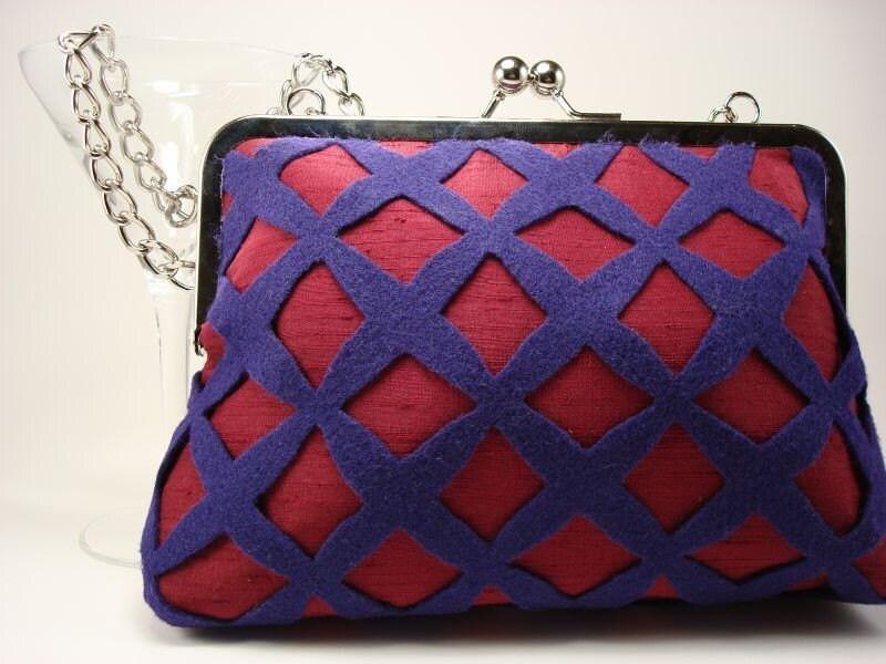 Red Silk Purse with Purple Felt - Lattice