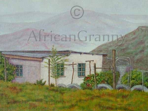 Transkei Mist artwork  acrylic on covered board depicting roadside scene South Africa - AfricanGranny