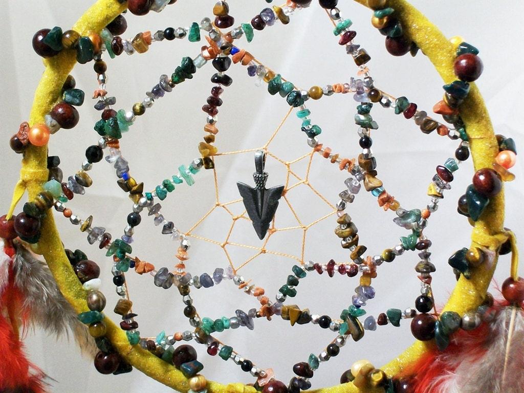 Tribal Native American Bear Totem Gemstone Dreamcatcher