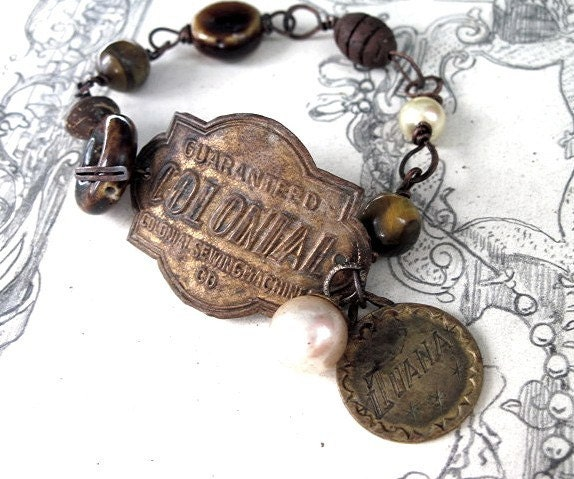 Luna.  Antique Tag Bracelet.