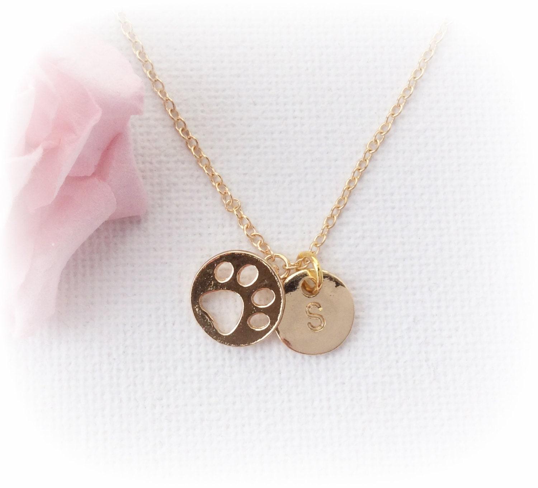 Gold pawprint Necklace dog Jewellery dog necklace cat necklace kitten necklace puppy necklace paw necklace pawprint necklace GFIN3