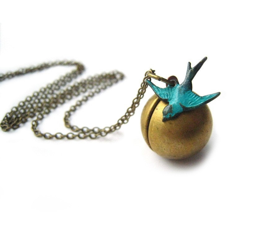 Soaring Sparrow. Antiqued Brass Vintage Ball Locket & Sparrow Necklace
