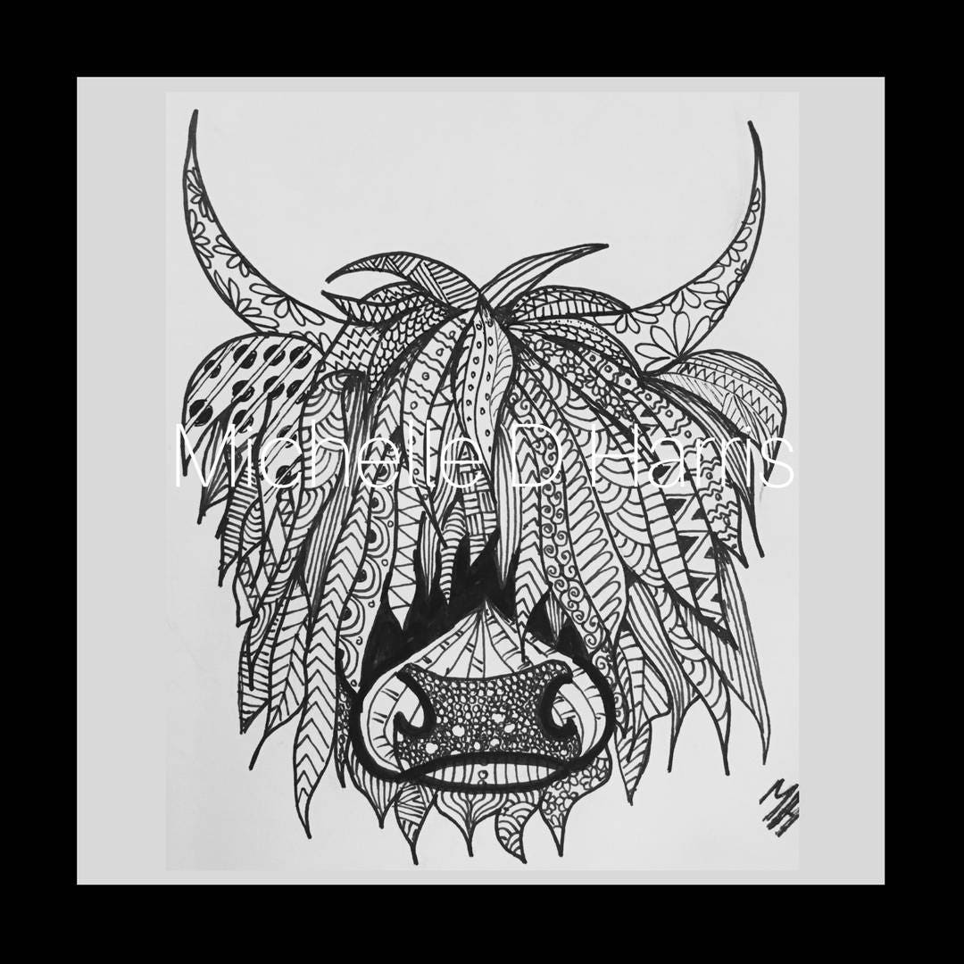 Similiar Highland Cow Zentangle Coloring Pages Keywords
