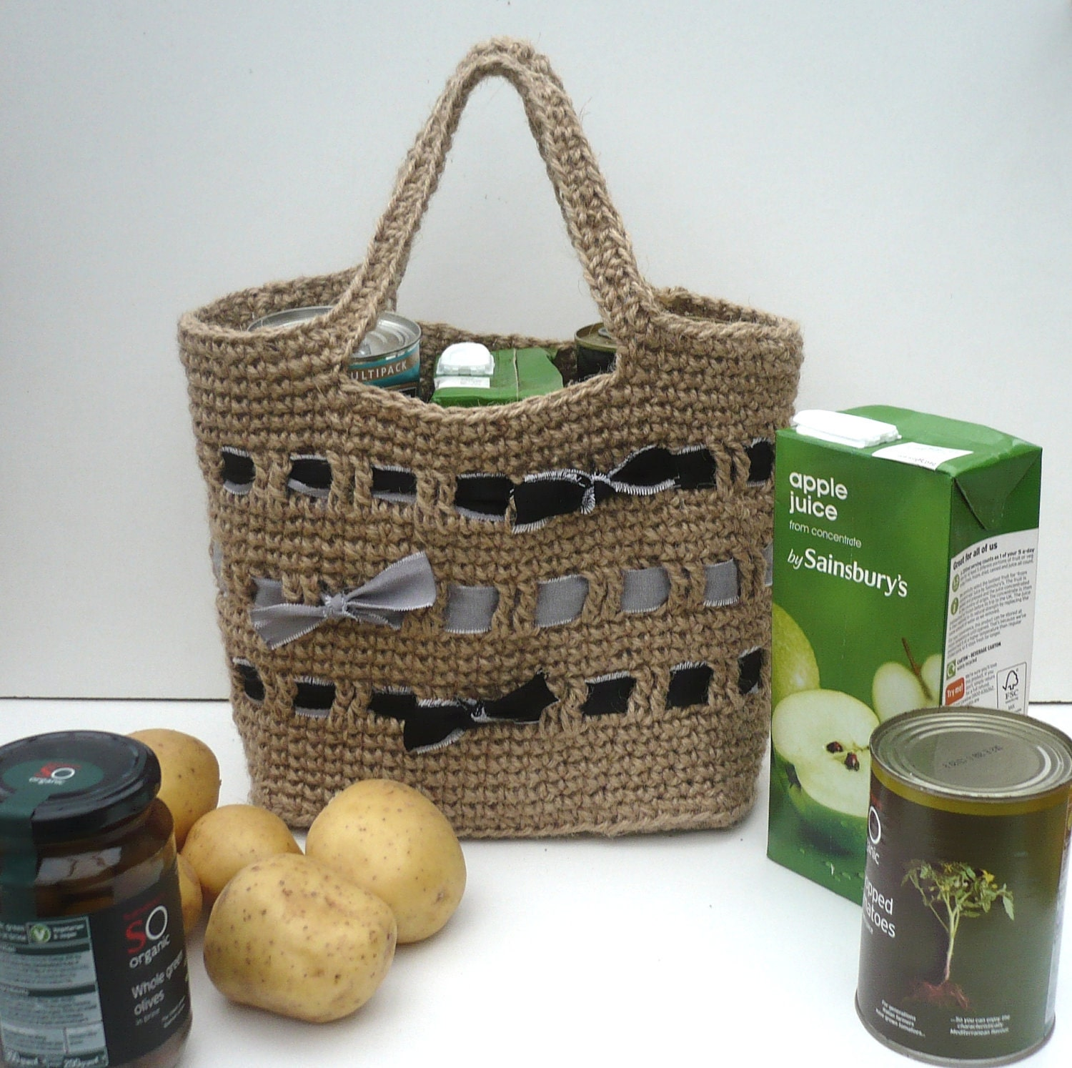 Strong Shopping Bag. Crocheted Jute Tote: by ...