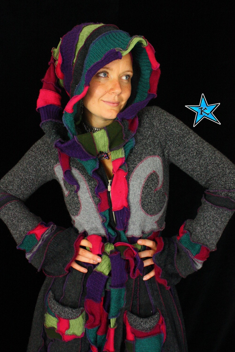 Reserved For ArraBella - Elf Coat made from recycled sweaters - Long hoodie cardigan - pixie patchwork couture