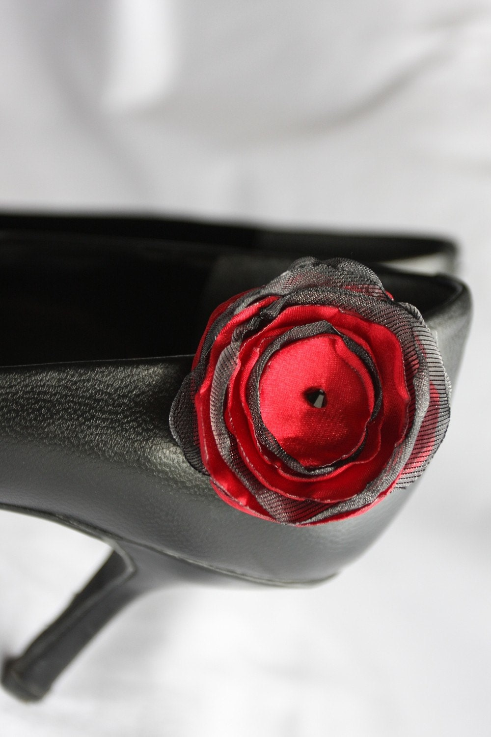 Ruby red and grey, satin and organza shoe clips