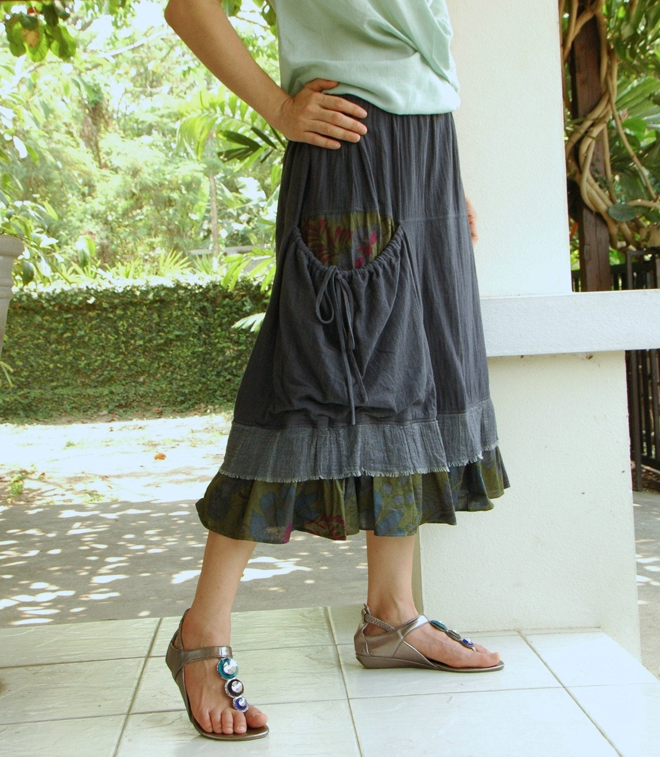 Moment To Love...Cotton Skirt Hand dyed in Dark Charcoal