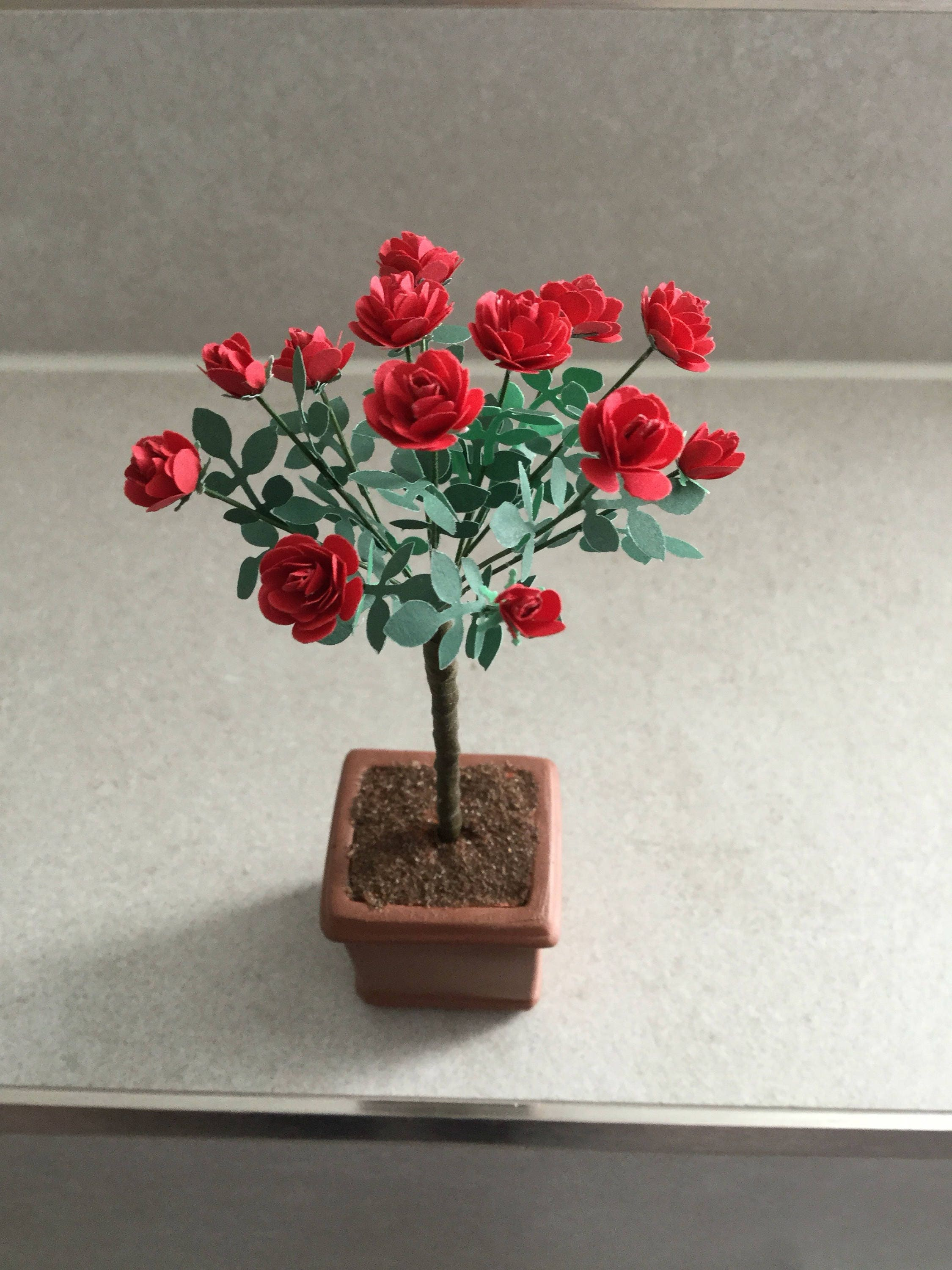 Dolls House Roses 112th scale Standard Red Rose Miniature Rose Tree 112 Dolls House Decor