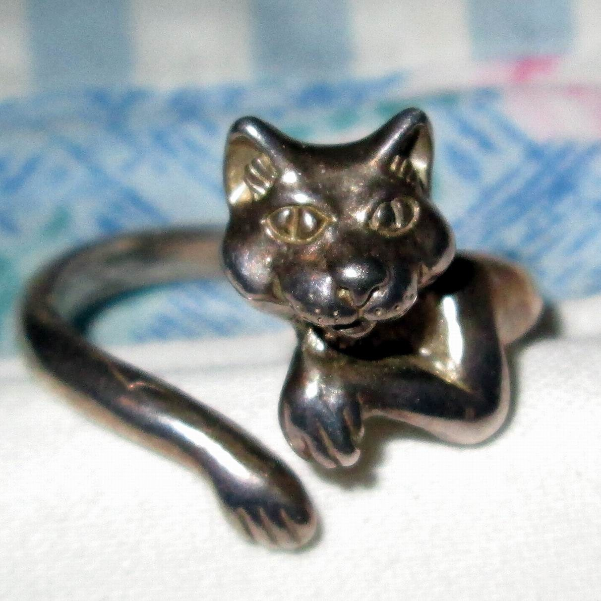 ring kabana cat wrap around sterling silver by moonchild111