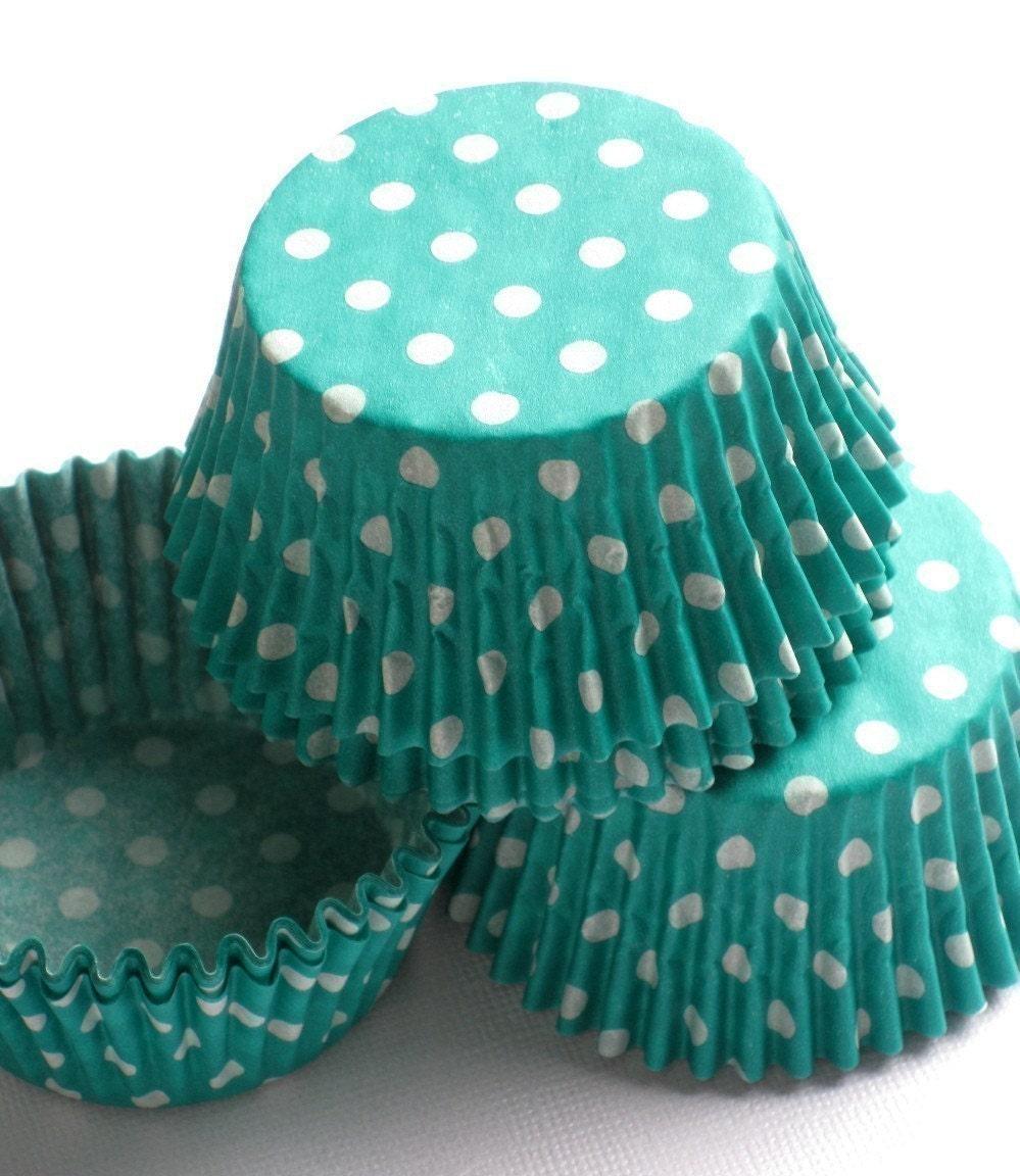 Teal Jade Green Polka Dot Cupcake Liners Baking Cups (50)