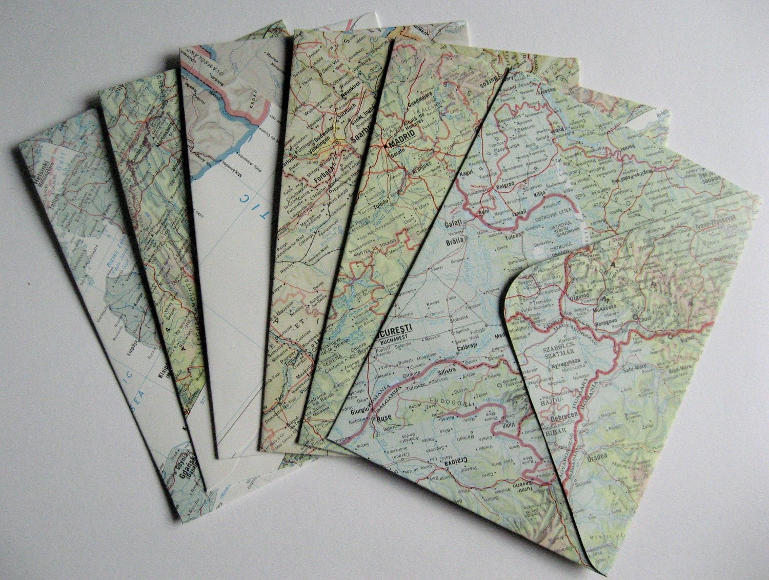 Handmade recycled Atlas Envelopes