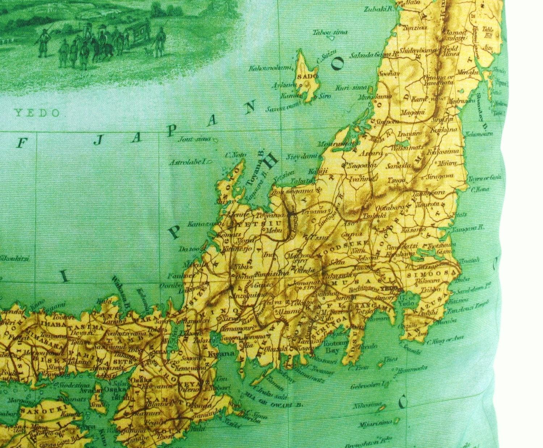 ЯПОНИЯ органического хлопка мягкая обивка, подушки крышки, карта, атлас, картографии, 16 дюйма