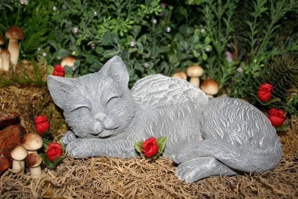 Angel Cat Memorial Garden Statue Garden Sculpture By Phenomegnome