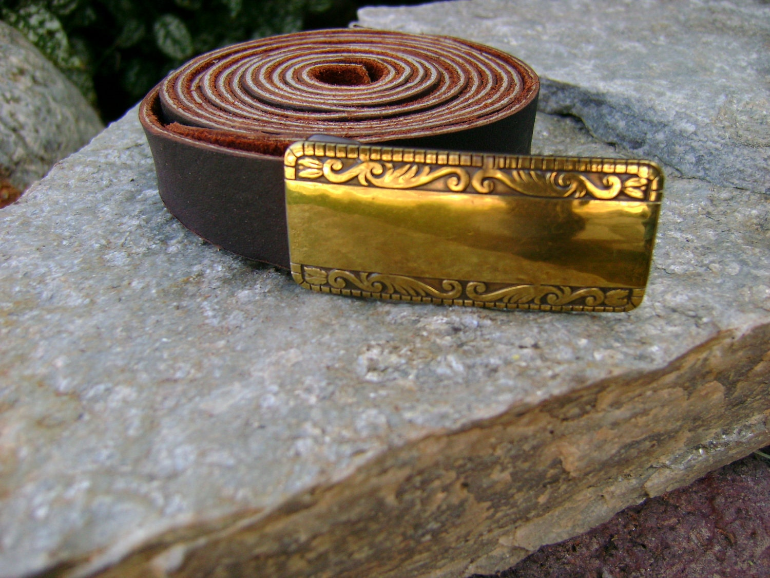 custom bison leather belt with brass buckle by manthreadz