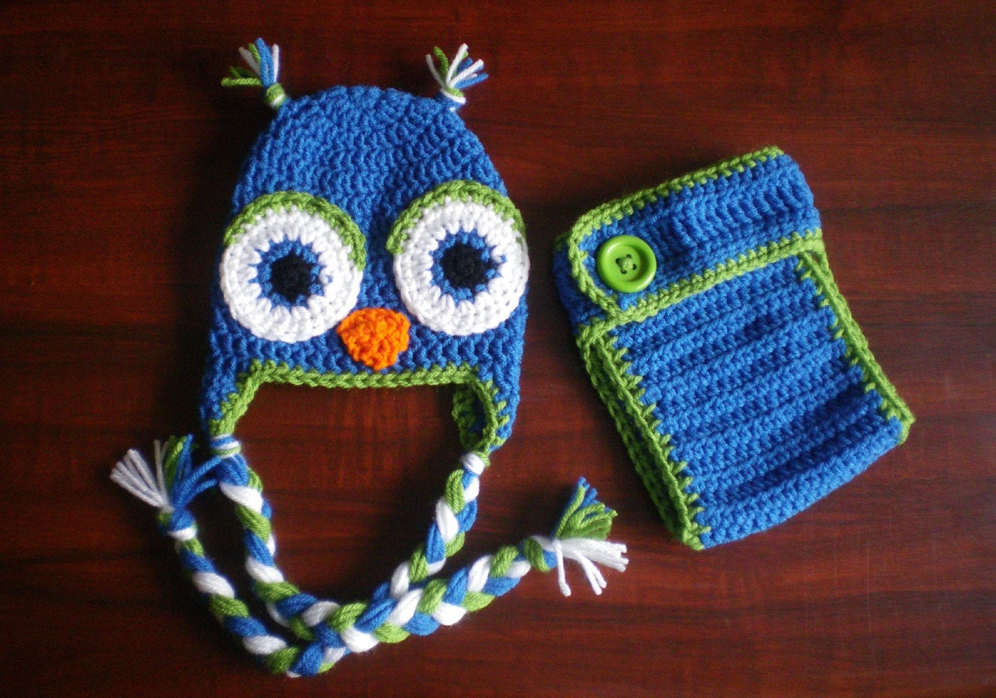 Set- Boys blue and fern green owl hat and diaper cover 0-3 3-6 6-12 month sizes - 2pcs.
