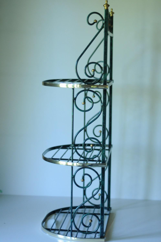 wall shelf metal 3 shelf shelving unit green gold by. Black Bedroom Furniture Sets. Home Design Ideas