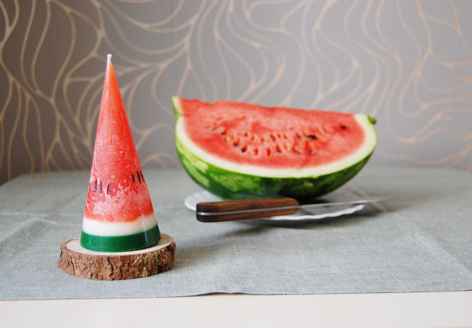 Watermelon Candle Hand Painted Cone Candle Fun Party Kids Birthday Candle  Home Decor - LessCandles