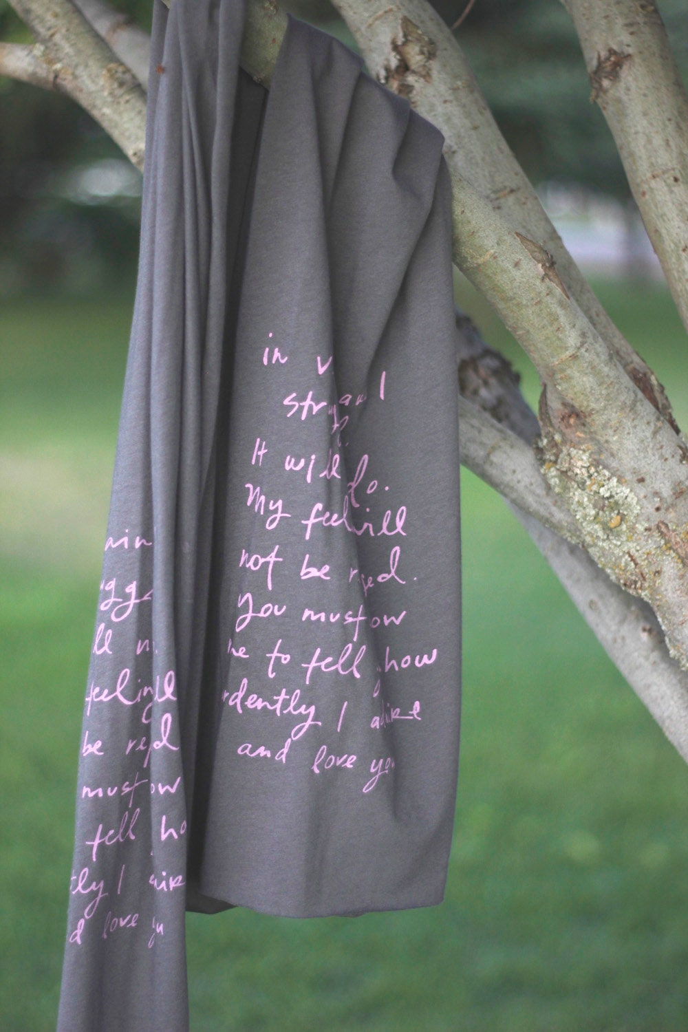Mr. Darcy proposal scarf- Pink on Charcoal