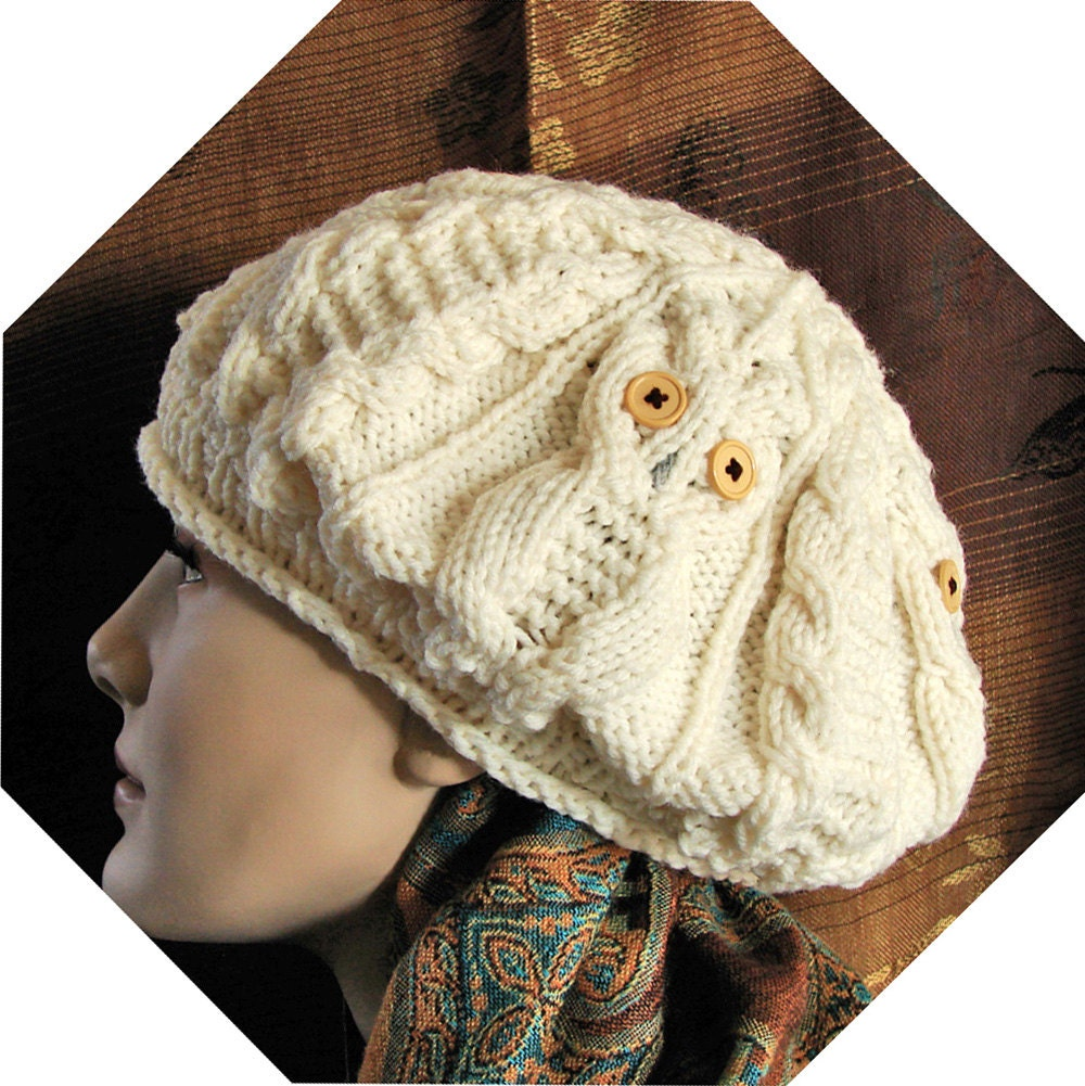 Owl Beret Hat / Cable Owls / Hand Knit / Off-White Acrylic / Women and Girls