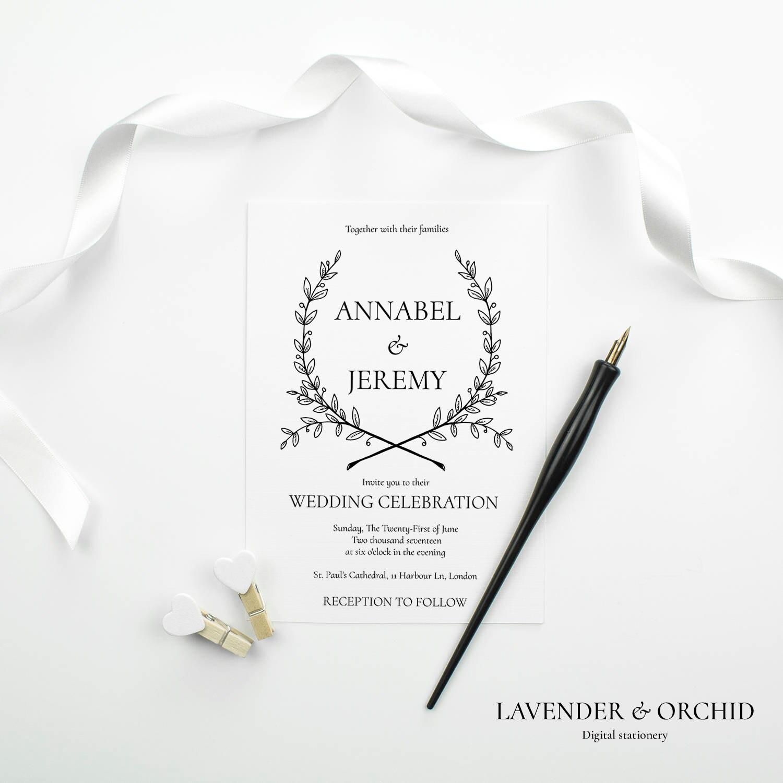 Wedding Invitation template Printable wedding invitations Instant download invitation Elegant wedding invitation Beautiful design PDF