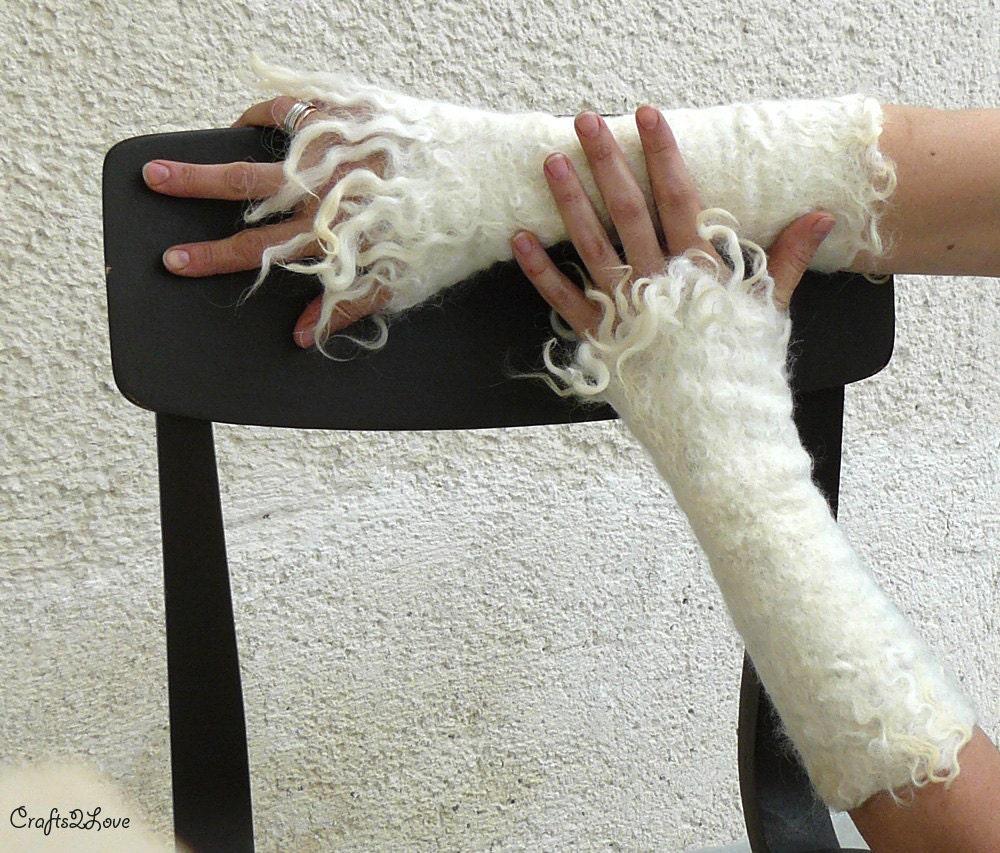 FURRY. Long arm warmer fingerless mittens, wool wrist warmer fingerless gloves. Raw wool felted fingerless. Felted fur arm warmers. Size M-L - Crafts2Love