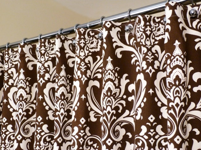 brown and white shower curtain. Brown Shower Curtain in OffWhite and Damask by LaRicaHome Curtains  Home Design