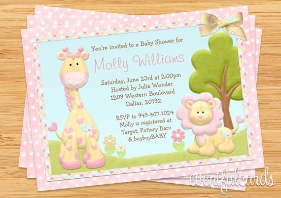 pink animals baby shower invitation blue for boys by eventfulcards