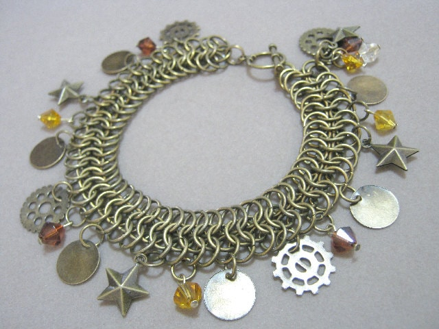 Star Steam Bracelet Chainmaille and Charms